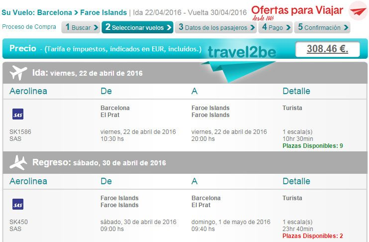 travel2be vuelo de Barcelona a las Islas Feroe