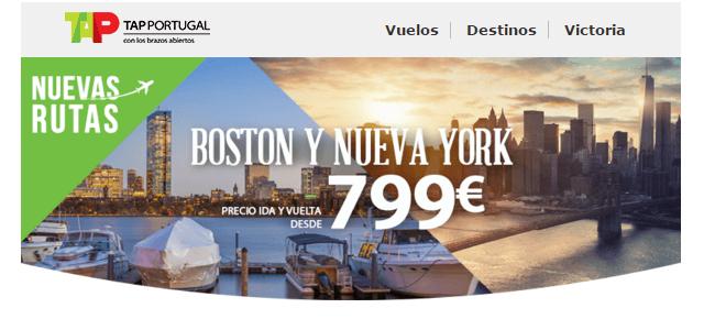 vuelos tap a boston y nueva york