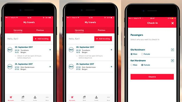 App móvil de iphone y android para realizar el check-in con Norwegian